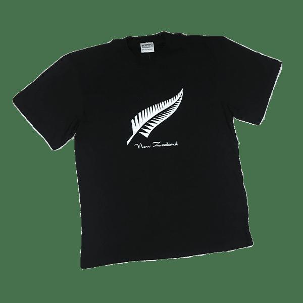 New Zealand Fern T Shirt Black